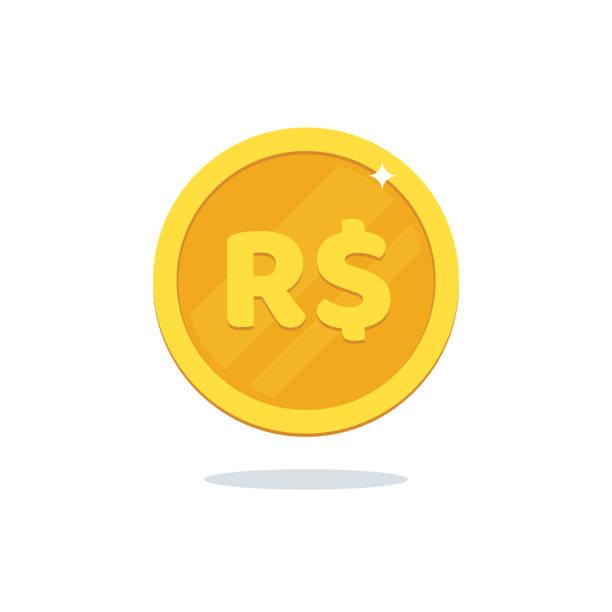 ilustrações, clipart, desenhos animados e ícones de ícone de moeda real. ilustração em vetor dinheiro isolada no fundo branco. - moeda