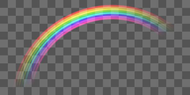 stockillustraties, clipart, cartoons en iconen met echte kleurrijke transparante kromme regenboog vector eps - regenboog