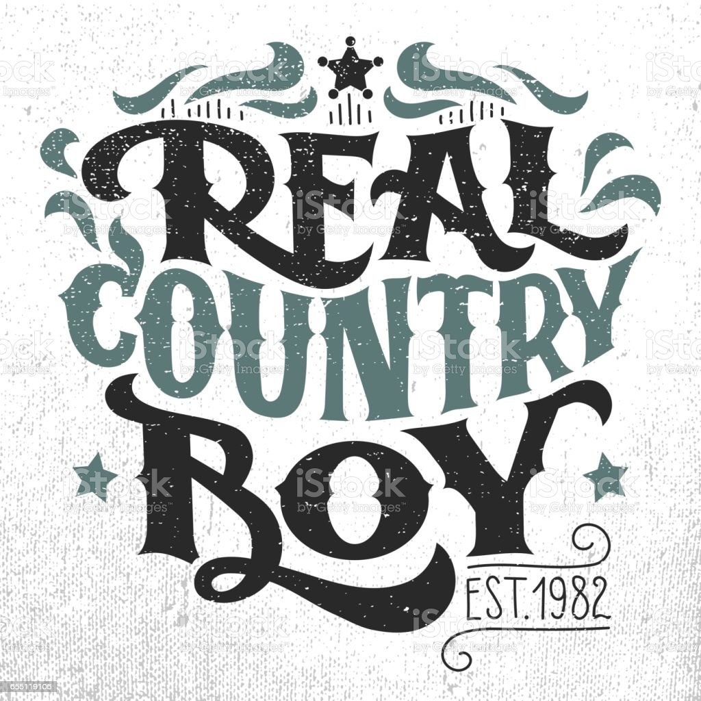 Real Country Boy Tshirt Handlettering Design Stock Vector Art More