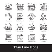 Real estate, moving and buying house thin line icons. Modern linear logo concept for web, mobile application. Home building, commercial property, floor plan, moving service, urban area, city map pictogram. Realty business outline vector icons set.