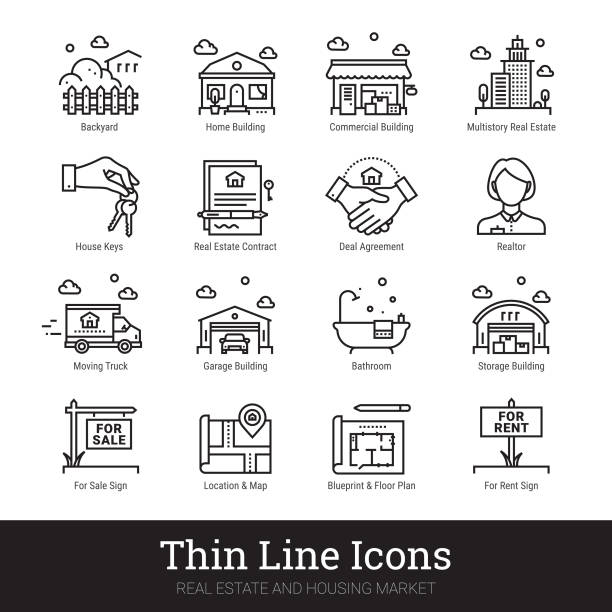 Real Eestate, Moving, Buying House Thin Line Icons. Vector Illustrations Clipart Collection Isolated On White Background. Real estate, moving and buying house thin line icons. Modern linear logo concept for web, mobile application. Home building, commercial property, floor plan, moving service, urban area, city map pictogram. Realty business outline vector icons set. grounds stock illustrations