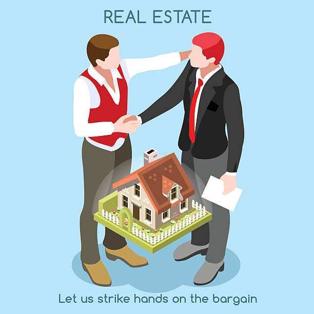 illustrazioni stock, clip art, cartoni animati e icone di tendenza di immobiliare 01 persone isometrici - real life