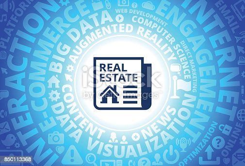 real estate ad icon on internet modern technology words background