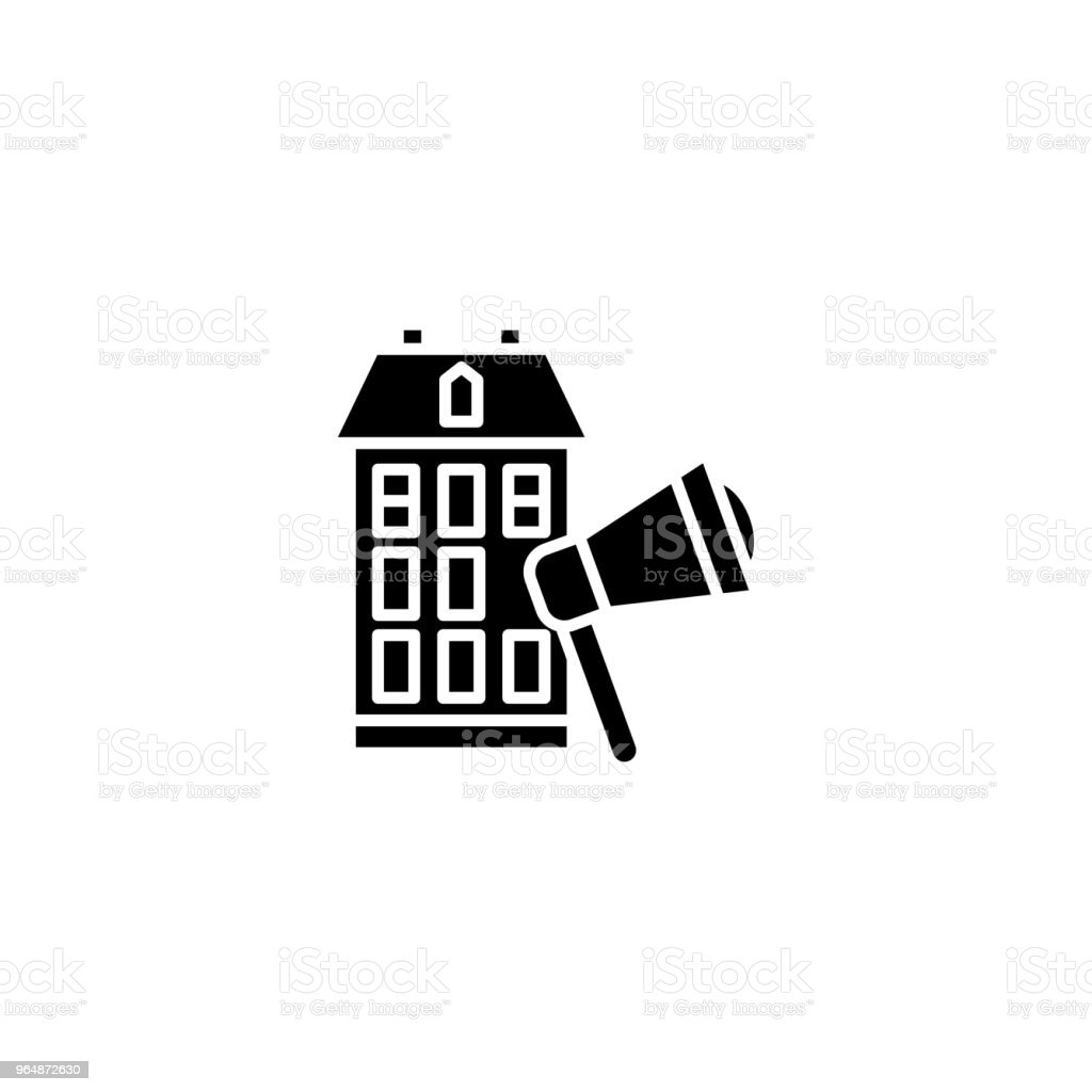 Real estate advertising black icon concept. Real estate advertising flat  vector symbol, sign, illustration. royalty-free real estate advertising black icon concept real estate advertising flat vector symbol sign illustration stock vector art & more images of abstract