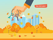 Real estate agency. Autumn city street in background of houses. Working, business deals, real estate contract deals. Business property investment. Buying, selling houses. Vector illustration isolated.