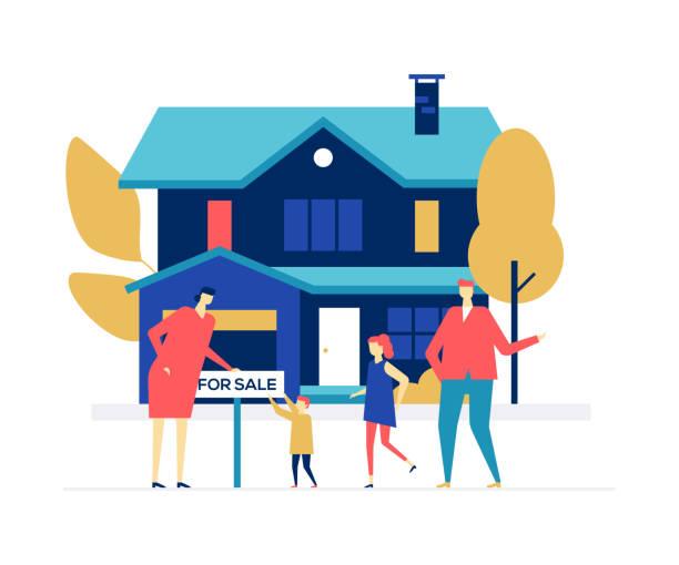 agencja nieruchomości - kolorowa ilustracja w stylu płaskiego - house stock illustrations