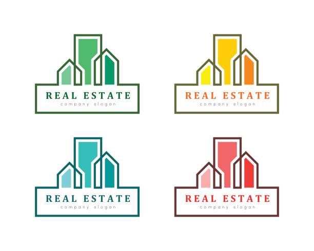 illustrations, cliparts, dessins animés et icônes de concept d'agence immobilière - logos immobilier