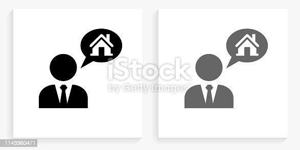 Real Estate Agent and House Black and White Square Icon. This 100% royalty free vector illustration is featuring the square button with a drop shadow and the main icon is depicted in black and in grey for a roll-over effect.. This 100% royalty free vector illustration is featuring the square button with a drop shadow and the main icon is depicted in black and in grey for a roll-over effect.