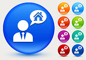 Real Estate Agent and House Icon on Shiny Color Circle Buttons