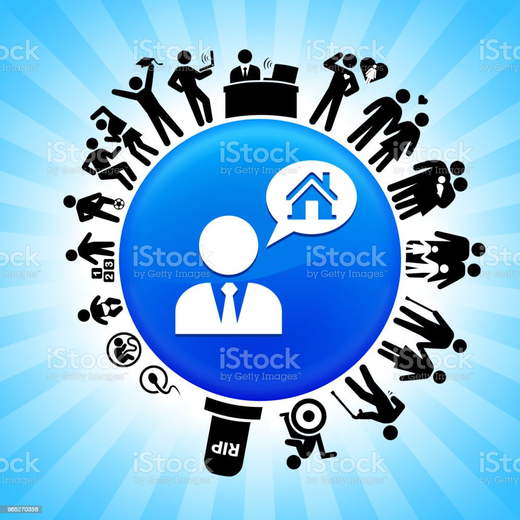 Real Estate Agent and House Lifecycle Stages of Life Background royalty-free real estate agent and house lifecycle stages of life background stock vector art & more images of adolescence