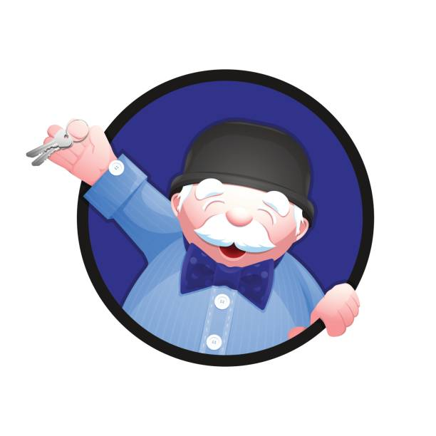 real estate agent holding a house key in his hand - old man hat stock illustrations, clip art, cartoons, & icons