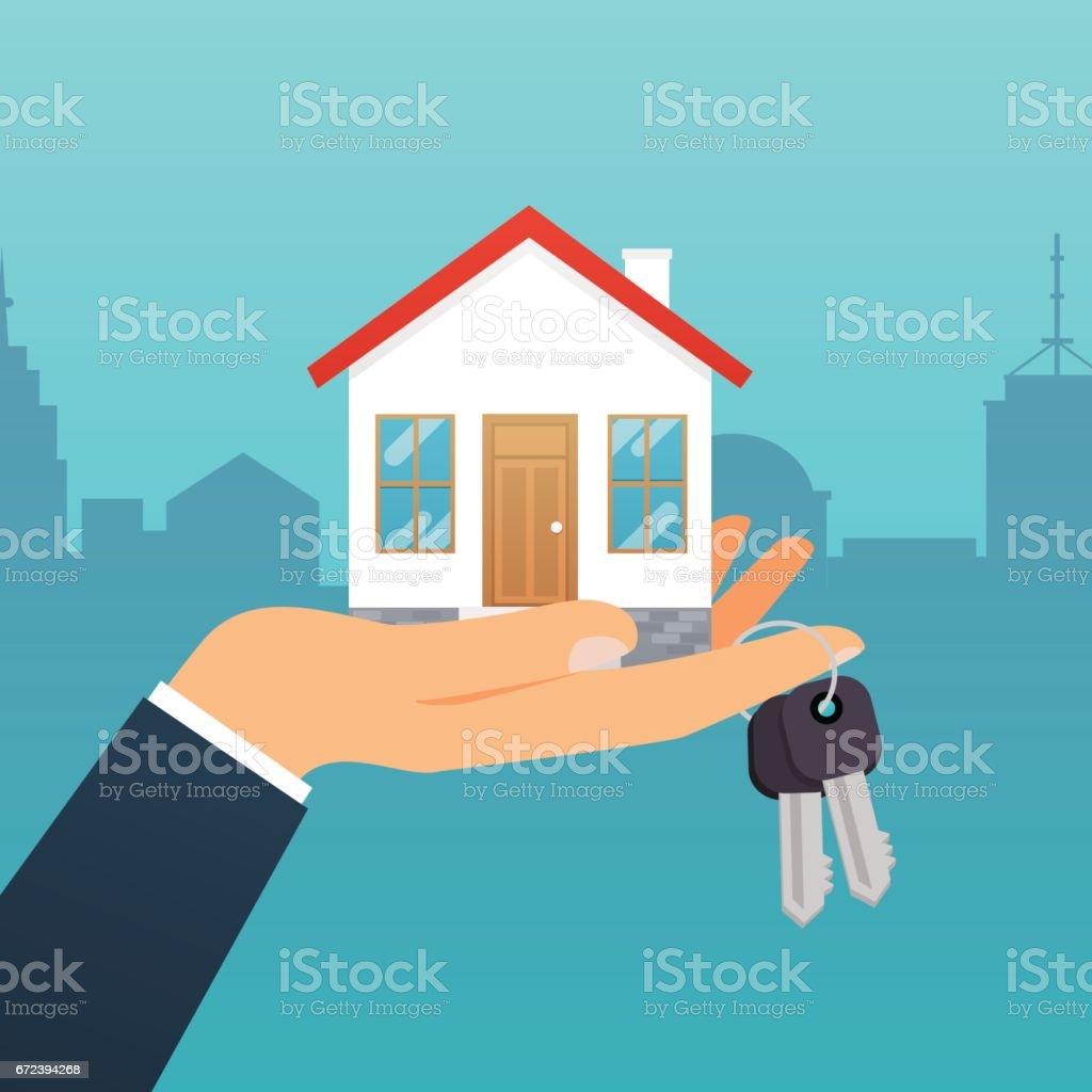 Agente imobiliário detém a chave da casa. Oferta de compra casa, aluguel de imóveis. Conceito de ilustração vetorial moderno design plano. - ilustração de arte em vetor