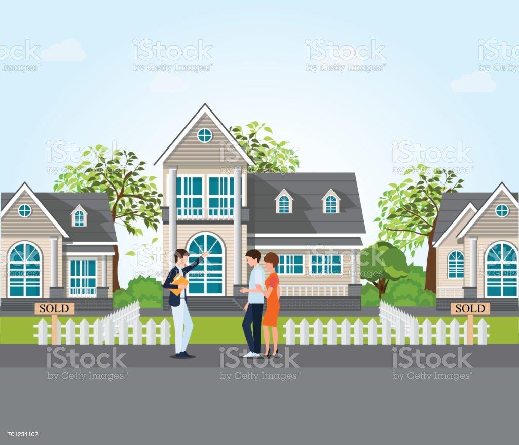Agent immobilier montrant une maison neuve à couple. - Illustration vectorielle