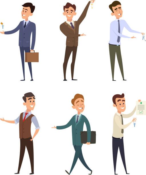 ilustraciones, imágenes clip art, dibujos animados e iconos de stock de inmobiliarias venta de edificios. conjunto de caracteres del negocio - corredor de bolsa