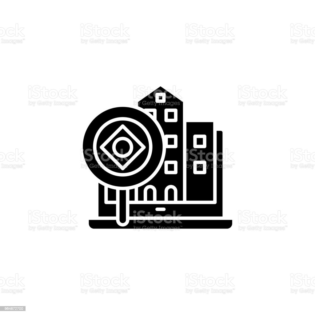 Real estate analysis black icon concept. Real estate analysis flat  vector symbol, sign, illustration. royalty-free real estate analysis black icon concept real estate analysis flat vector symbol sign illustration stock vector art & more images of abstract