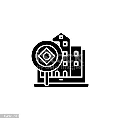 Real Estate Analysis Black Icon Concept Real Estate Analysis Flat Vector Symbol Sign Illustration Stock Vector Art & More Images of Abstract 964872700
