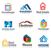 Real Estate and Building icon set. Vector house icon template