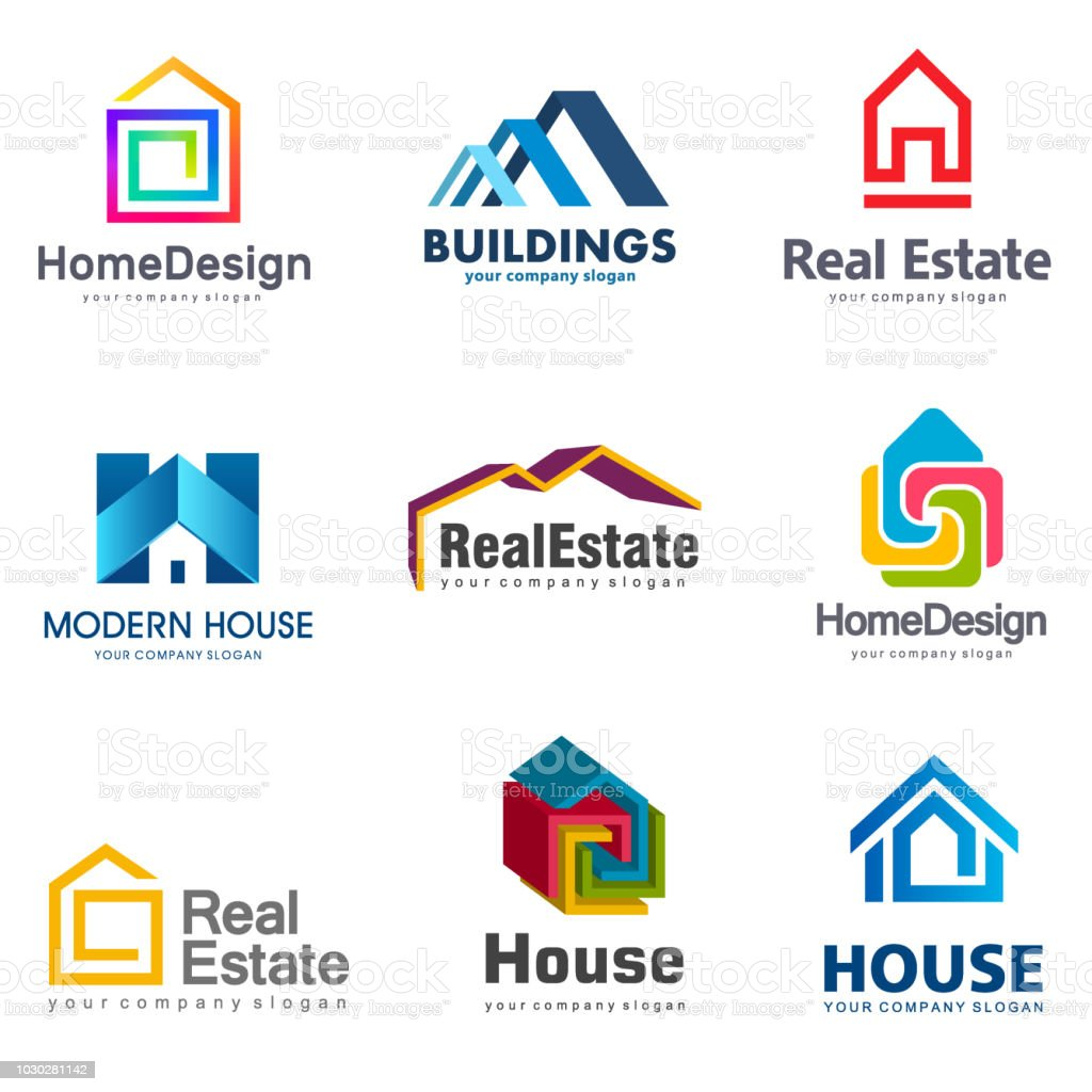 Real Estate and Building icon set. Vector house icon template vector art illustration