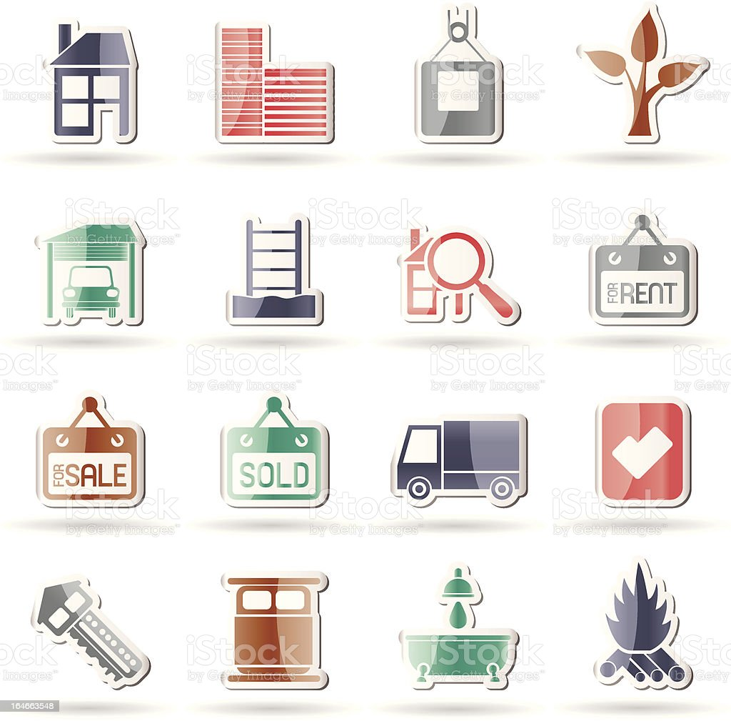 Real Estate and building icons royalty-free stock vector art