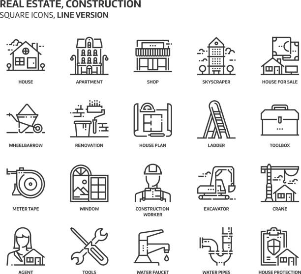 Real estate and construction, square icon set Real estate and construction, square icon set. The illustrations are a vector, editable stroke, thirty-two by thirty-two matrix grid, pixel perfect files. Crafted with precision and eye for quality. renovation stock illustrations