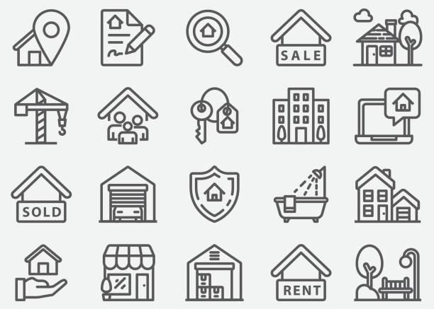 ilustrações de stock, clip art, desenhos animados e ícones de real estate and mortgage line icons - house garage