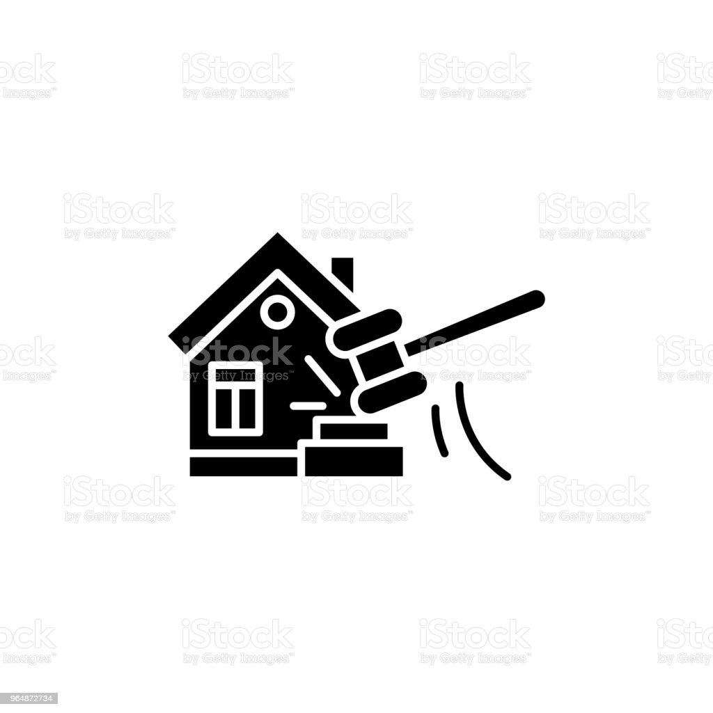 Real estate auction black icon concept. Real estate auction flat  vector symbol, sign, illustration. royalty-free real estate auction black icon concept real estate auction flat vector symbol sign illustration stock vector art & more images of apartment