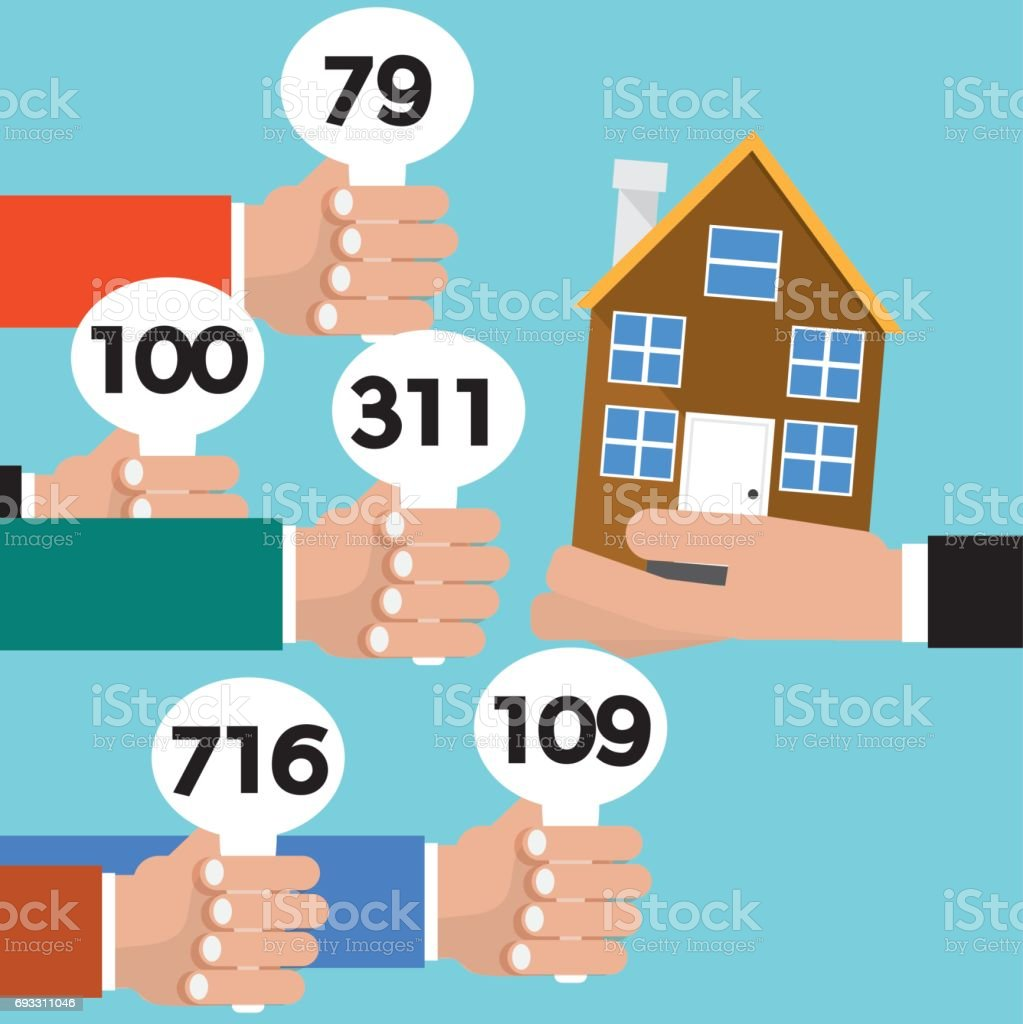 Real Estate Auction Conceptual Vector Illustration vector art illustration