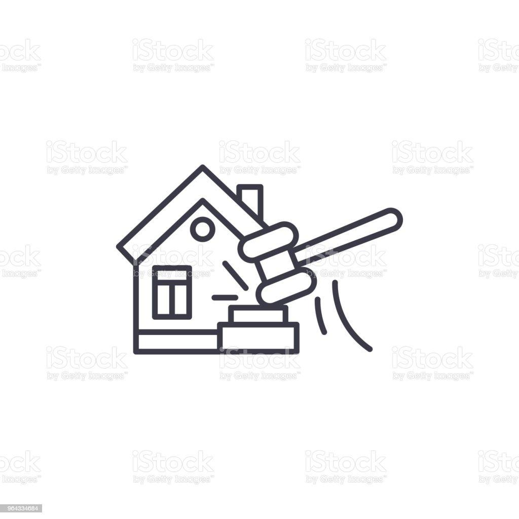 Concepto de icono lineal Subasta inmobiliaria. Real estate subasta línea vector de señal, símbolo, Ilustración. - ilustración de arte vectorial