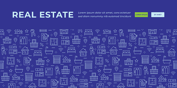 Real Estate Banner Design with outline icons on dark Blue Background