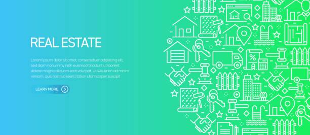 ilustraciones, imágenes clip art, dibujos animados e iconos de stock de plantilla de banner de bienes raíces con iconos de línea. ilustración vectorial moderna para anuncio, encabezado, sitio web. - hipotecas y préstamos