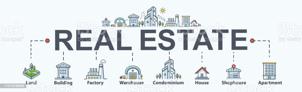 Real Estate Banner Web Icon For Property And Investment Land Building Factory Warehouse Condominium Shophouse And Apartment Minimal Vector Infographic Stock Illustration Download Image Now Istock