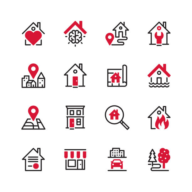 Real Estate - black line plus color Vector icon set. Files included: Vector EPS 10, HD JPEG 4000 x 4000 px damaged stock illustrations