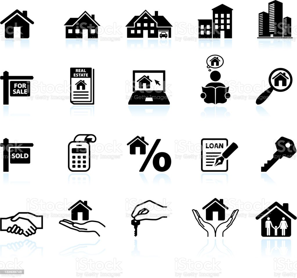 real estate black & white royalty free vector icon set royalty-free real estate black white royalty free vector icon set stock vector art & more images of apartment