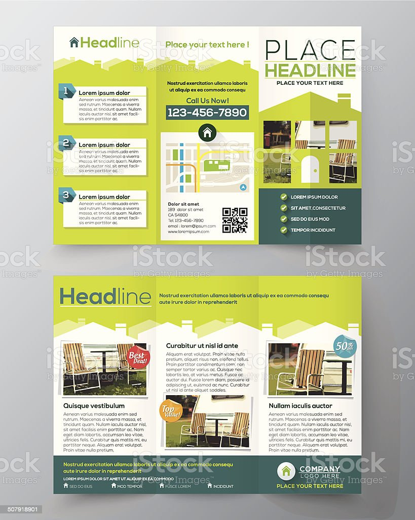 Real Estate Brochure Flyer Design Vector Template In A Size Stock - Real estate brochure templates