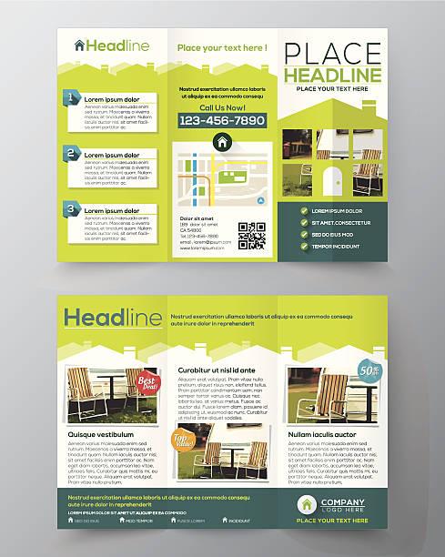 bildbanksillustrationer, clip art samt tecknat material och ikoner med real estate brochure flyer design vector template in a4 size - husägande