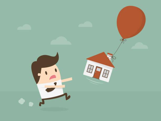 ilustraciones, imágenes clip art, dibujos animados e iconos de stock de burbuja inmobiliaria. - embargo hipotecario