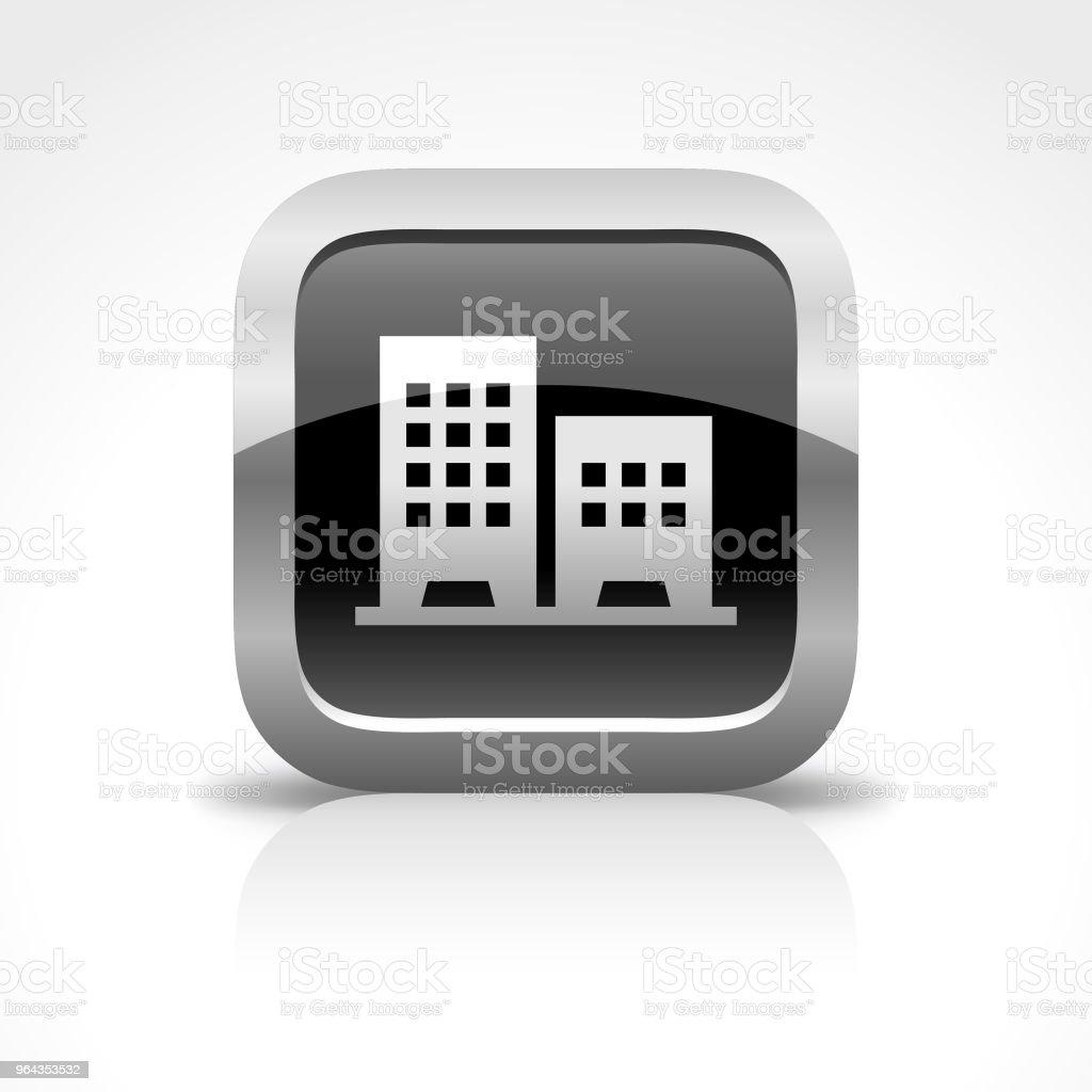 Ícone de botão brilhante Real Estate Building - Vetor de Aluguel de casa royalty-free