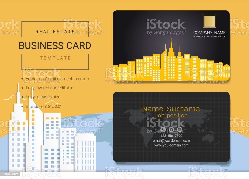 Real Estate Business Card Or Name Card Template Simple Style Also ...