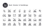 Real estate business and building exterior thin line icons. Public, commercial property, government realty, historical building, personal houses. Vector pictograms for map, web interface, mobile app.