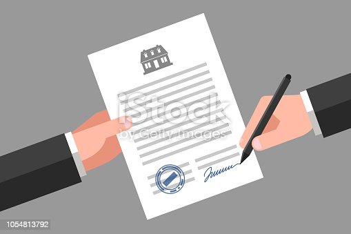 One hand is keeping a document, and another hand is keeping a pen. House icon above the text. Signing of contract. Real estate business and realty insurance