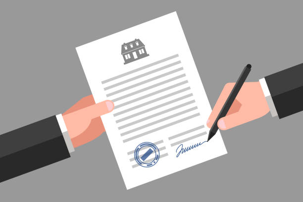 real estate business document - kontrakt stock illustrations