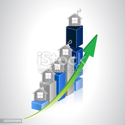 istock Real estate business graph illustration 1300555959