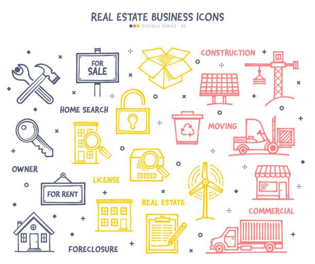 ilustraciones, imágenes clip art, dibujos animados e iconos de stock de conjunto de iconos de negocios inmobiliarios - embargo hipotecario