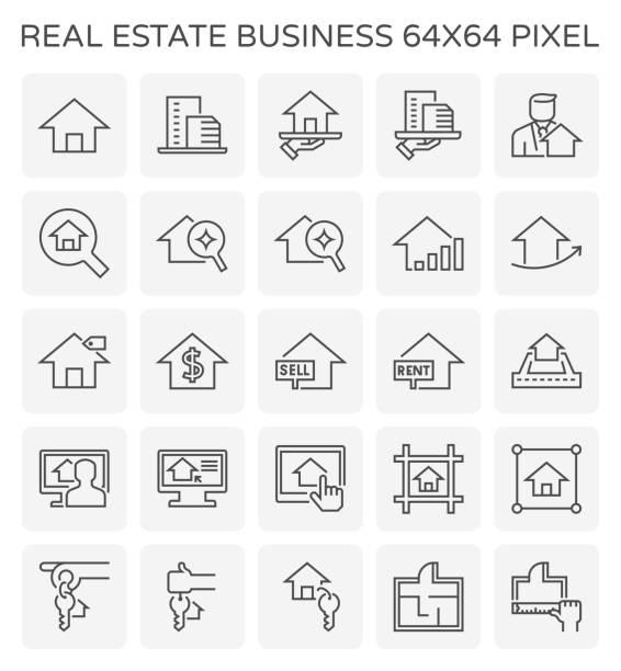 real estate business icon - mieszkanie komunalne stock illustrations