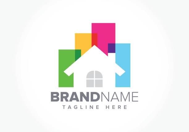 illustrations, cliparts, dessins animés et icônes de illustration de l'immobilier entreprise symbole - logos immobilier