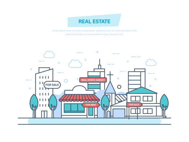 immobiliengeschäft mit häusern. arbeiten, angebote immobilienvertrag - oberhaus stock-grafiken, -clipart, -cartoons und -symbole