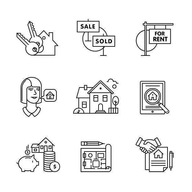 ilustraciones, imágenes clip art, dibujos animados e iconos de stock de compra de bienes raíces, y alquilar señales de venta - corredor de bolsa