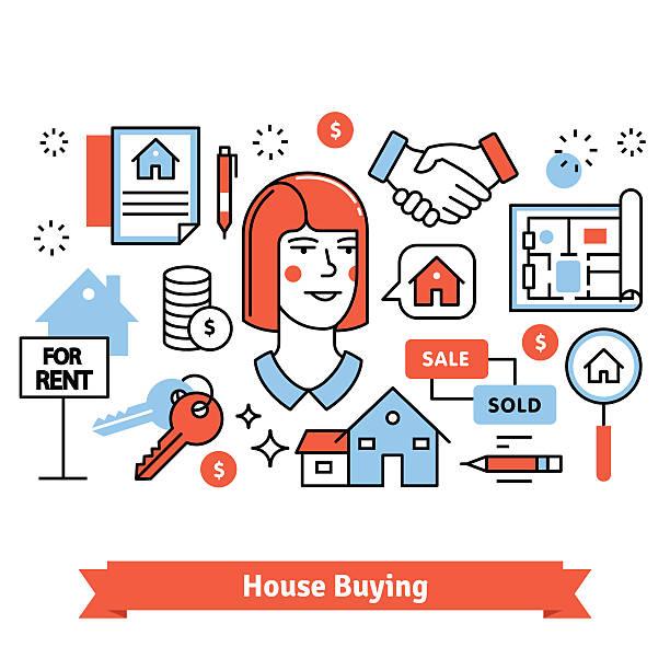 ilustraciones, imágenes clip art, dibujos animados e iconos de stock de real estate buying, selling and renting signs - corredor de bolsa