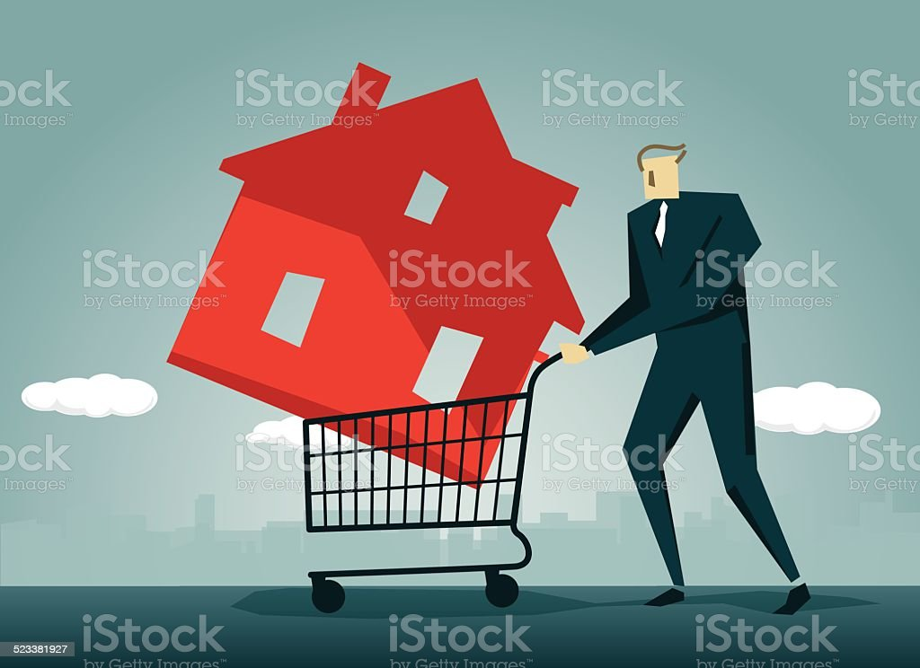 Real Estate, Carrying, House,Housing Problems vector art illustration