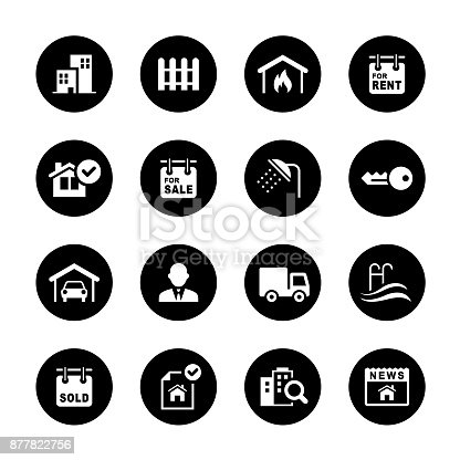 An illustration of real estate circle icons set for your web page, presentation, apps & design products. Black & white design and has a metal frame that makes it look dazzling. Vector format can be fully scalable & editable.